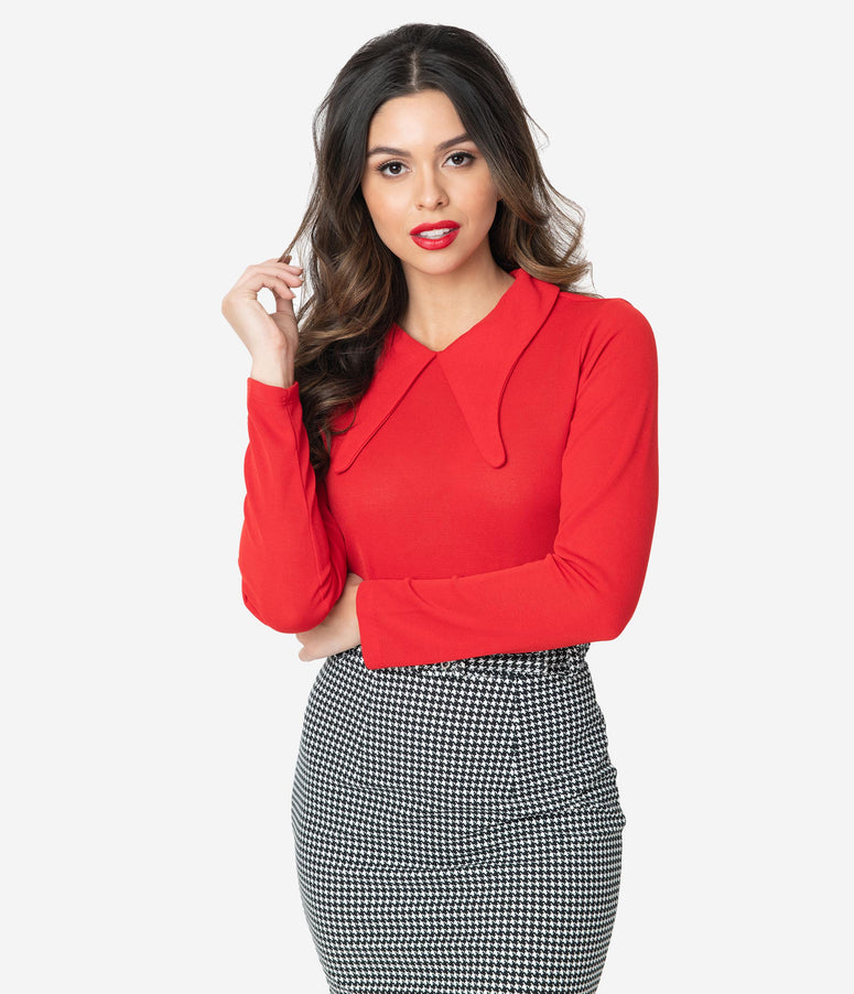 Retro Style Red Winged Collar Blouse