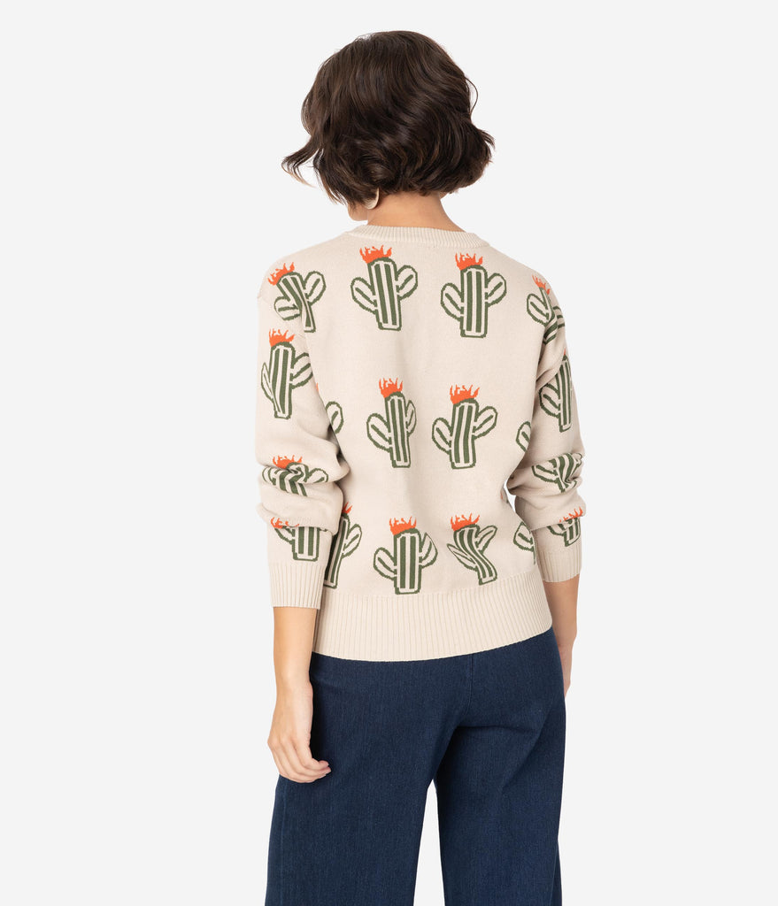 Beige Knit & Green Cactus Long Sleeve Cotton Sweater