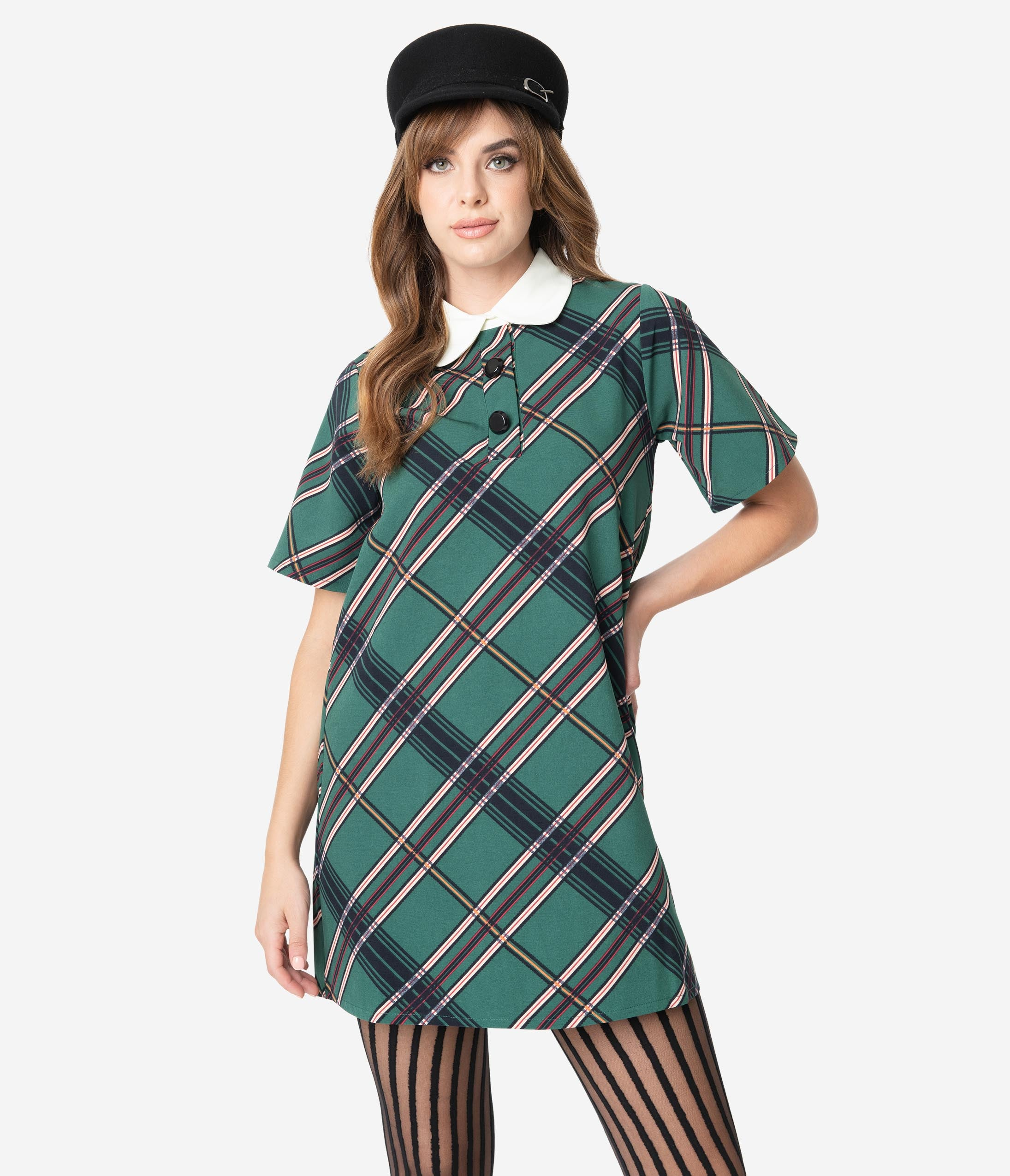 60s Dresses | 1960s Dresses Mod, Mini, Hippie 1960S Style Mistletoe Green Plaid Short Sleeve Shift Dress $88.00 AT vintagedancer.com