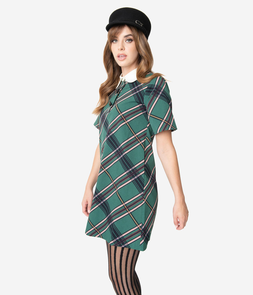 1960s Style Mistletoe Green Plaid Short Sleeve Shift Dress