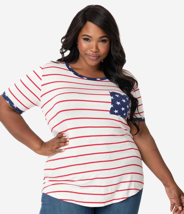 23f903f9a8 Plus Size Ivory   Red Stripe Navy Stars Short Sleeve Top