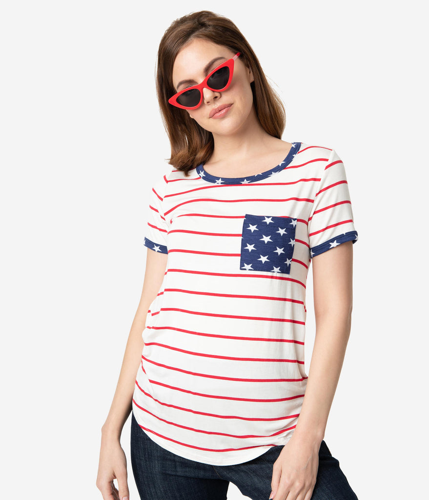 Ivory & Red Stripe Navy Stars Short Sleeve Top