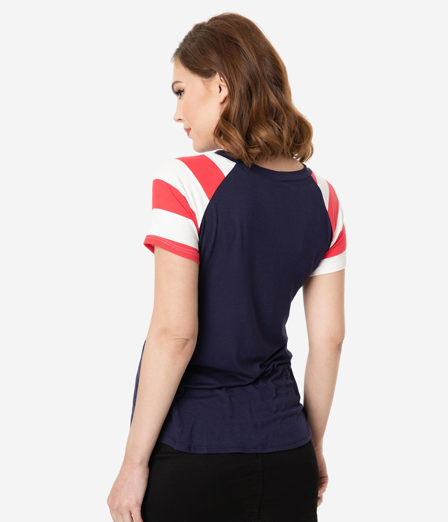 Navy Blue American Flag Pocket Short Sleeved Top