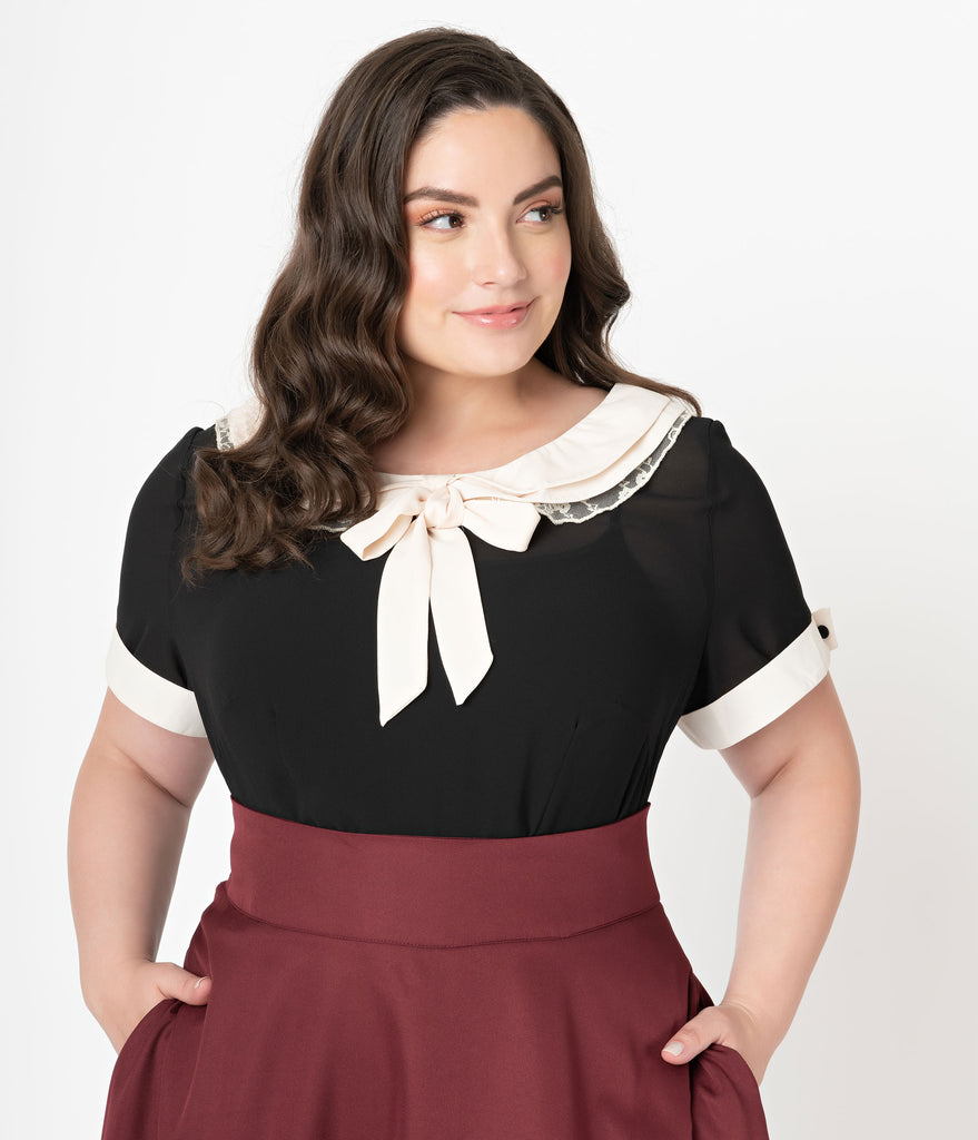 Unique Vintage Plus Size Black & Cream Chiffon Neck Tie Bea Blouse
