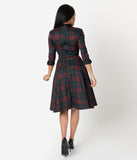 Unique Vintage 1950s Emerald Green & Red Plaid Trudy Swing Dress