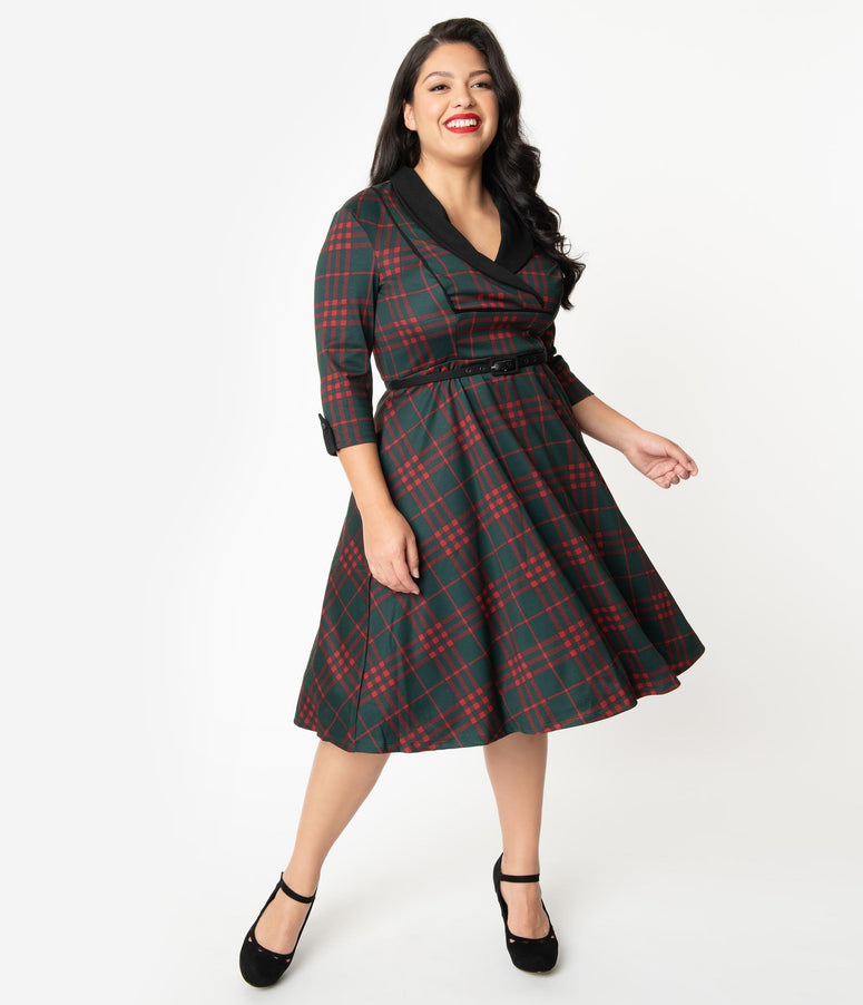 Unique Vintage Plus Size 1950s Emerald Green & Red Plaid Trudy Swing Dress