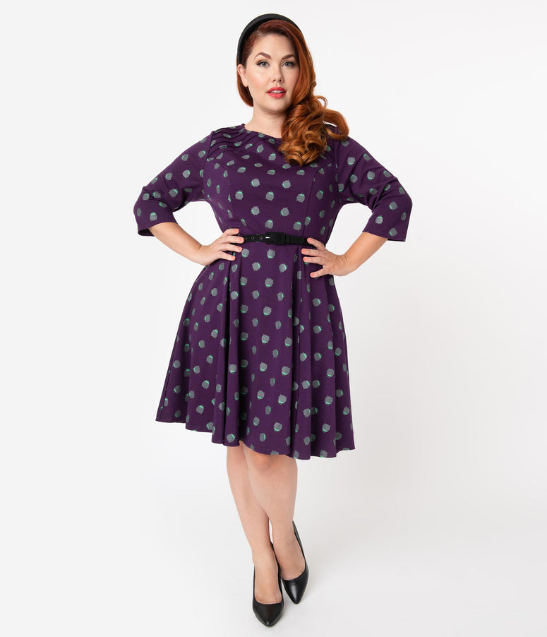 Unique Vintage Plus Size Purple Cauldron Print Half Sleeve Fit & Flare Dress