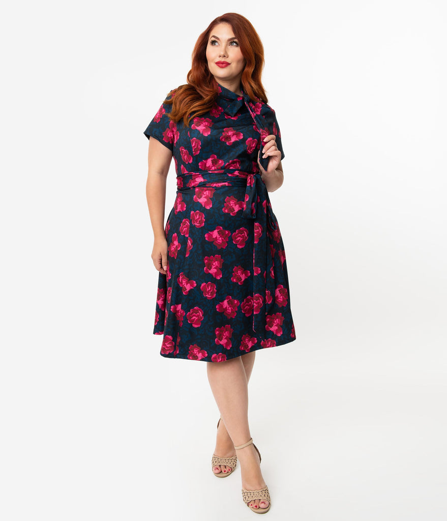 Unique Vintage Plus Size 1960s Style Black & Pink Floral Print Bancroft Fit & Flare Dress