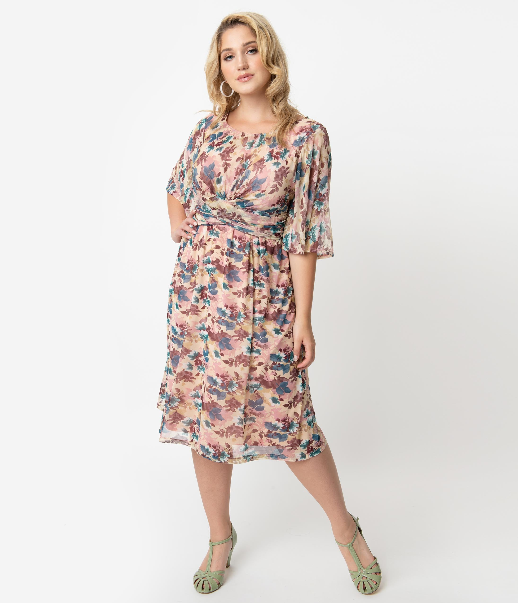 Plus Size Sophisticated A-line Scoop Neck Gathered Mesh Knit Floral Print Sheer Flutter Elbow Length Sleeves Tank Dress With a Bow(s)