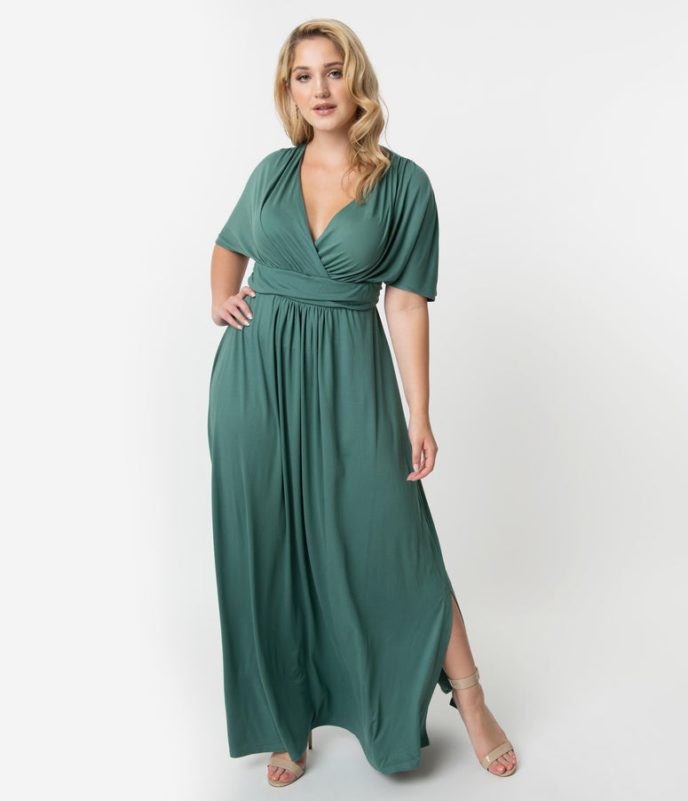36e16e0738b Plus Size Vintage Style Matcha Green Sleeved Vienna Maxi Dress