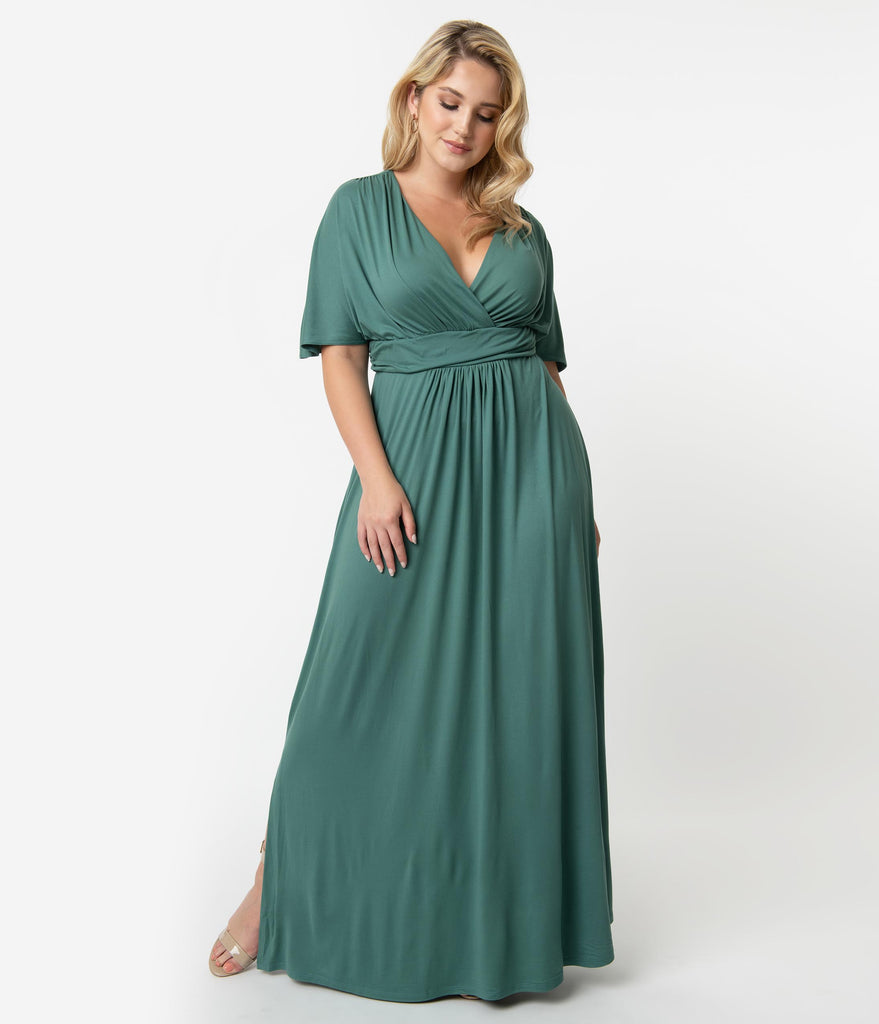 Plus Size Vintage Style Matcha Green Sleeved Vienna Maxi Dress