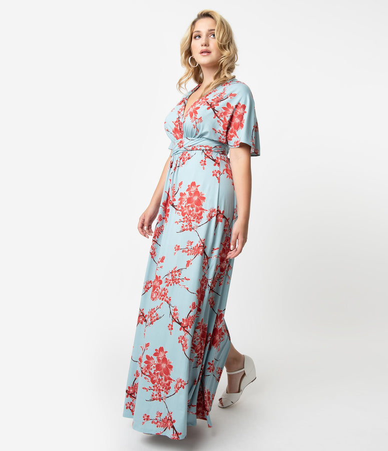 8de73788f2 Plus Size Vintage Style Light Blue & Red Cherry Blossom Print Sleeved  Vienna Maxi Dress