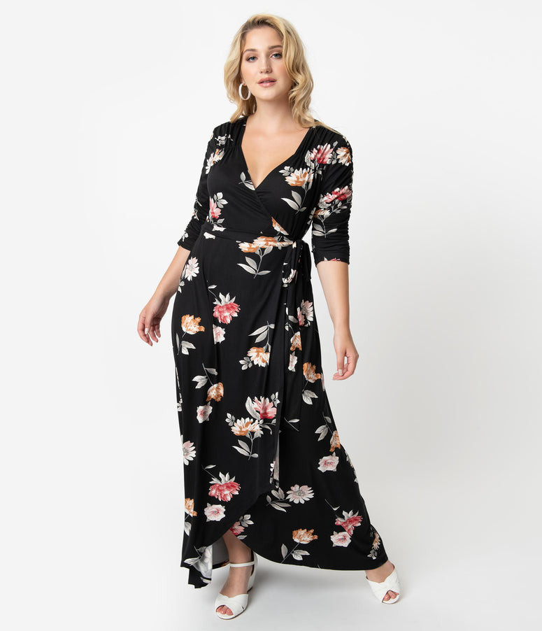 Plus Size Black & Ivory Artful Blooms Print Sleeved Meadow Dream Maxi Wrap Dress