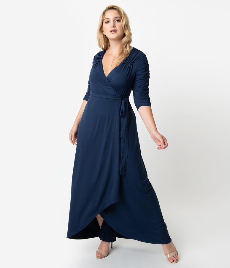 Plus Size Navy Blue Sleeved Meadow Dream Maxi Wrap Dress