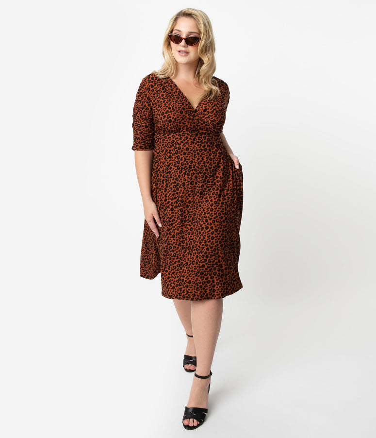 Retro Style Plus Size Copper Leopard Cat Print Gabriella Jersey Dress
