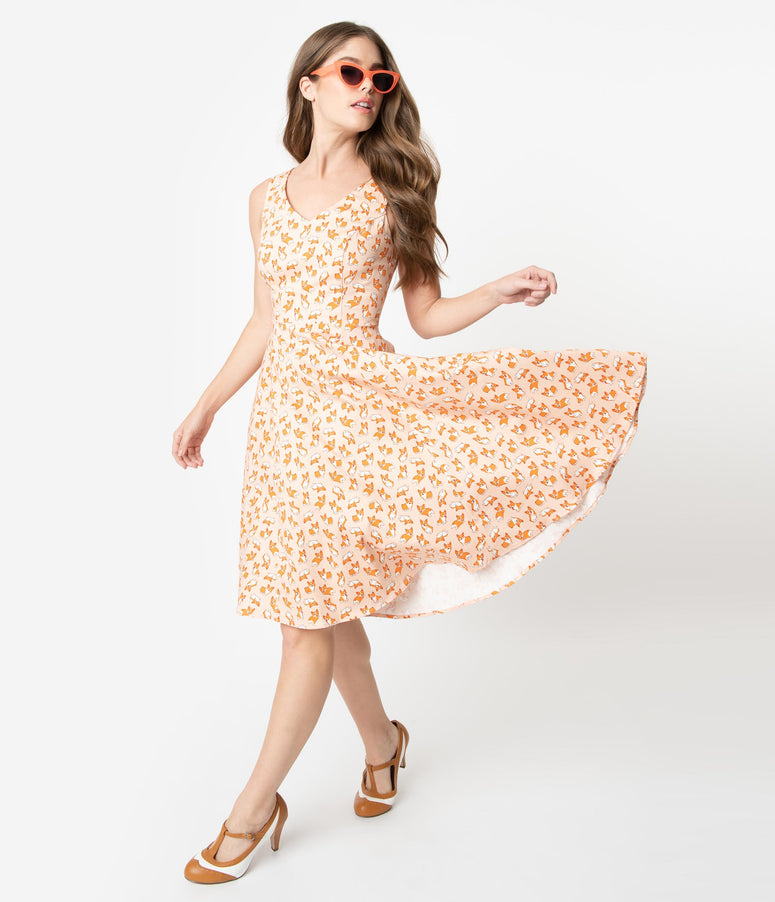 1950s Style Peach Corgi Print Sleeveless Swing Dress