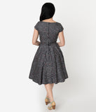 1950s Style Grey Galaxy Print Cap Sleeve Hanna Swing Dress