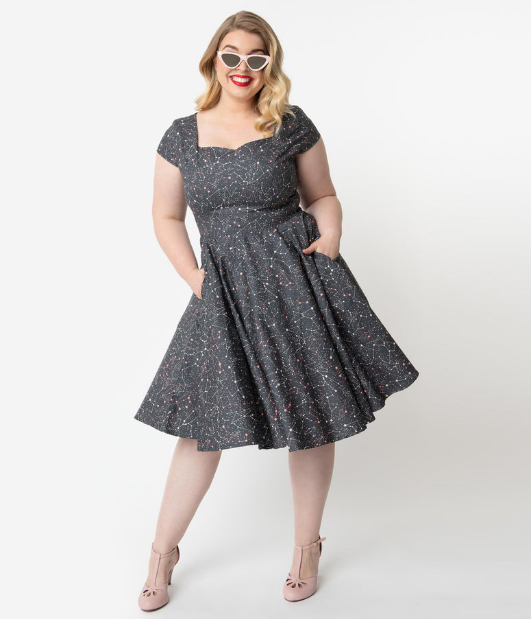ee436dff4952 Plus Size 1950s Style Grey Galaxy Print Cap Sleeve Hanna Swing Dress