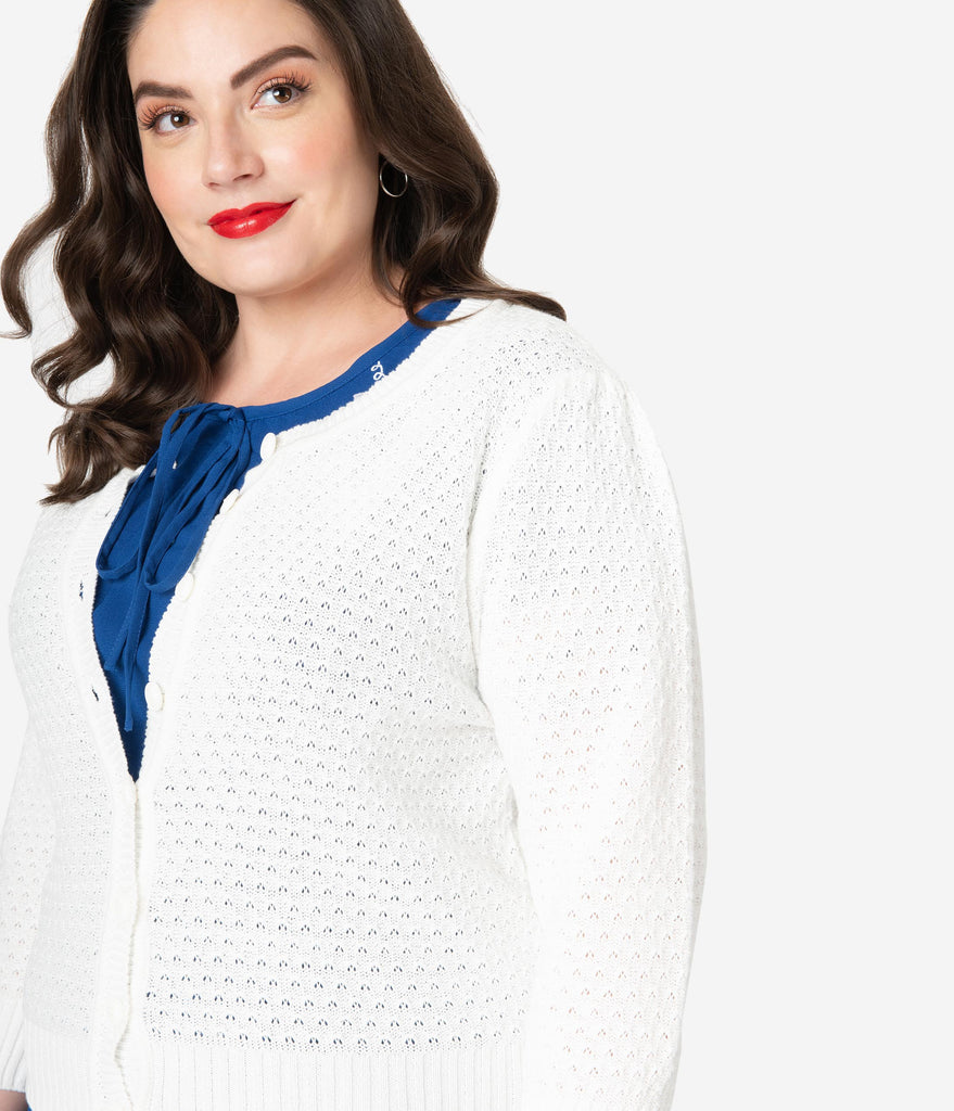 Plus Size Retro Style Ivory White Cotton Crochet Sleeved Button Cardigan