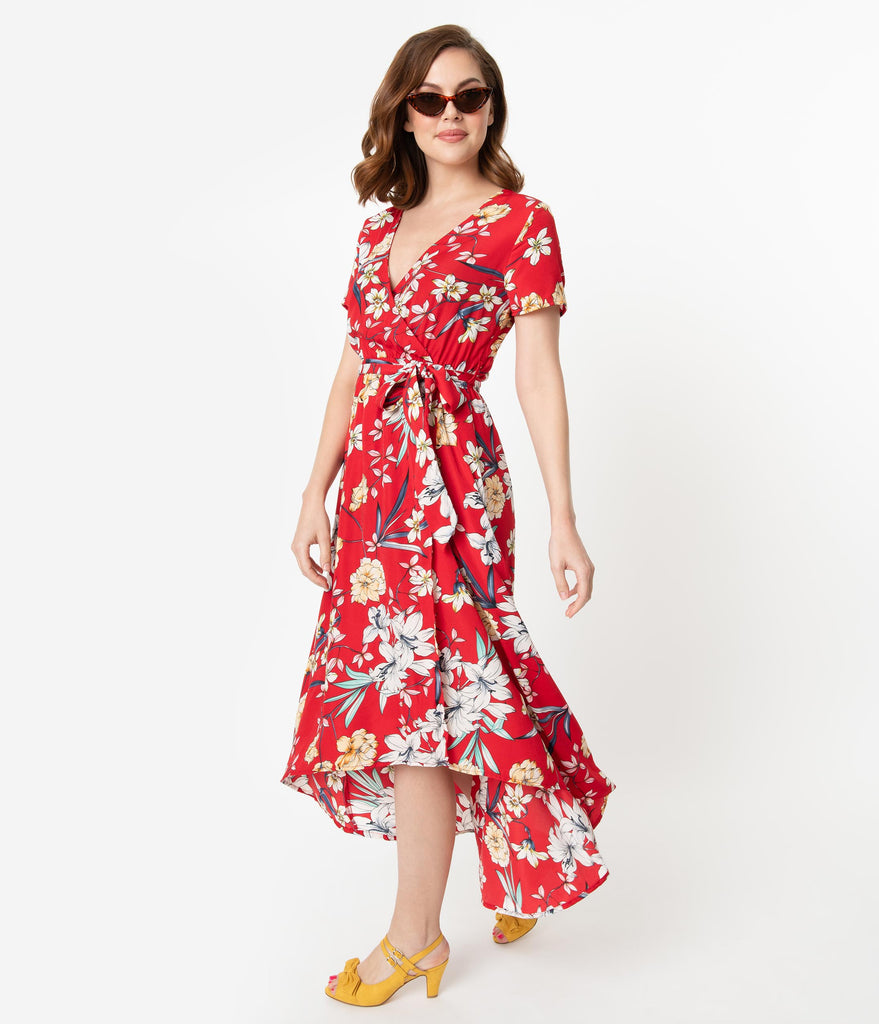 897f09278992 ... Vintage Style Red & Pastel Tropical Floral Print High Low Maxi Dress