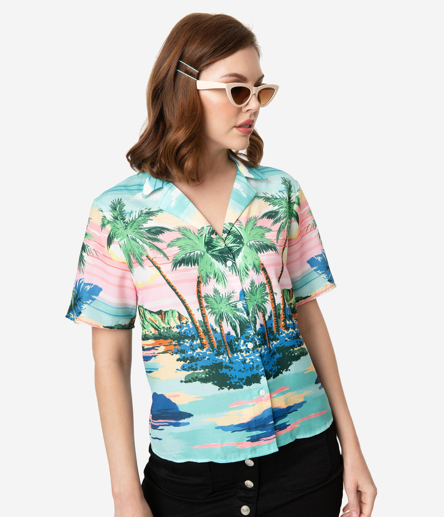 Retro Style Tropical Sunset Scene Print Button Up Blouse