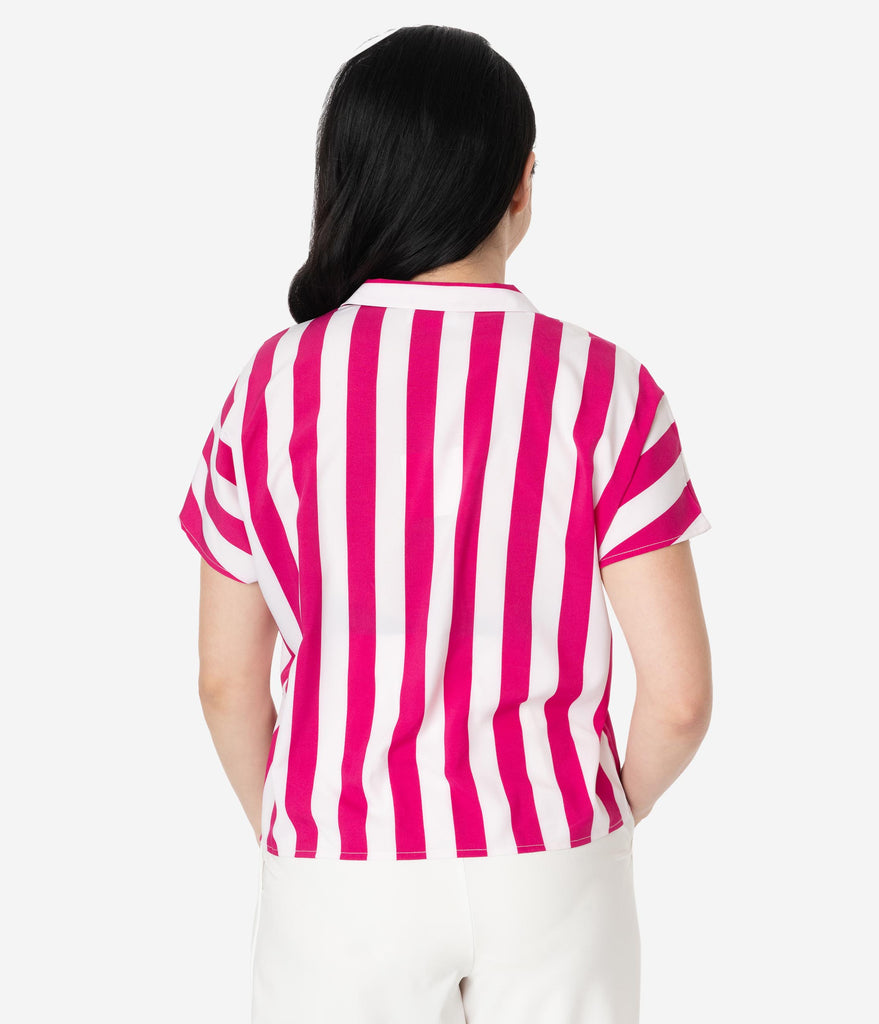Magenta & White Stripe Button Up Relaxed Blouse