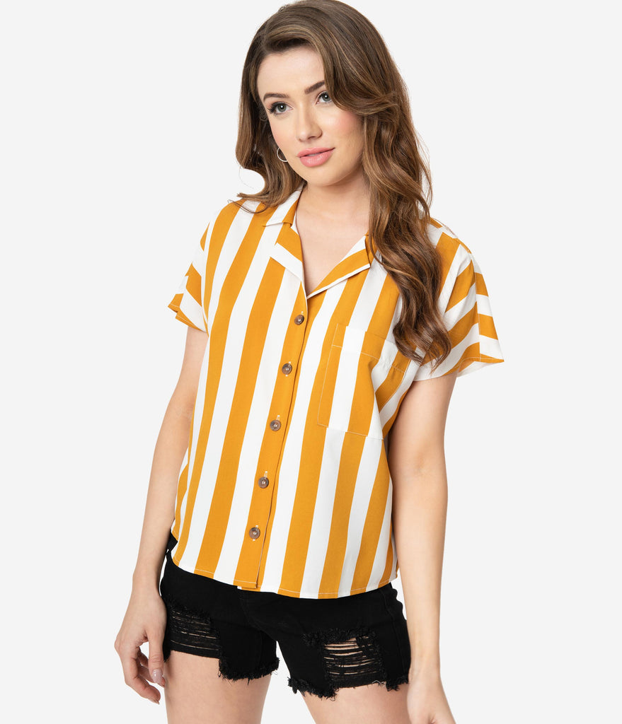 Mustard Yellow & White Stripe Button Up Relaxed Blouse