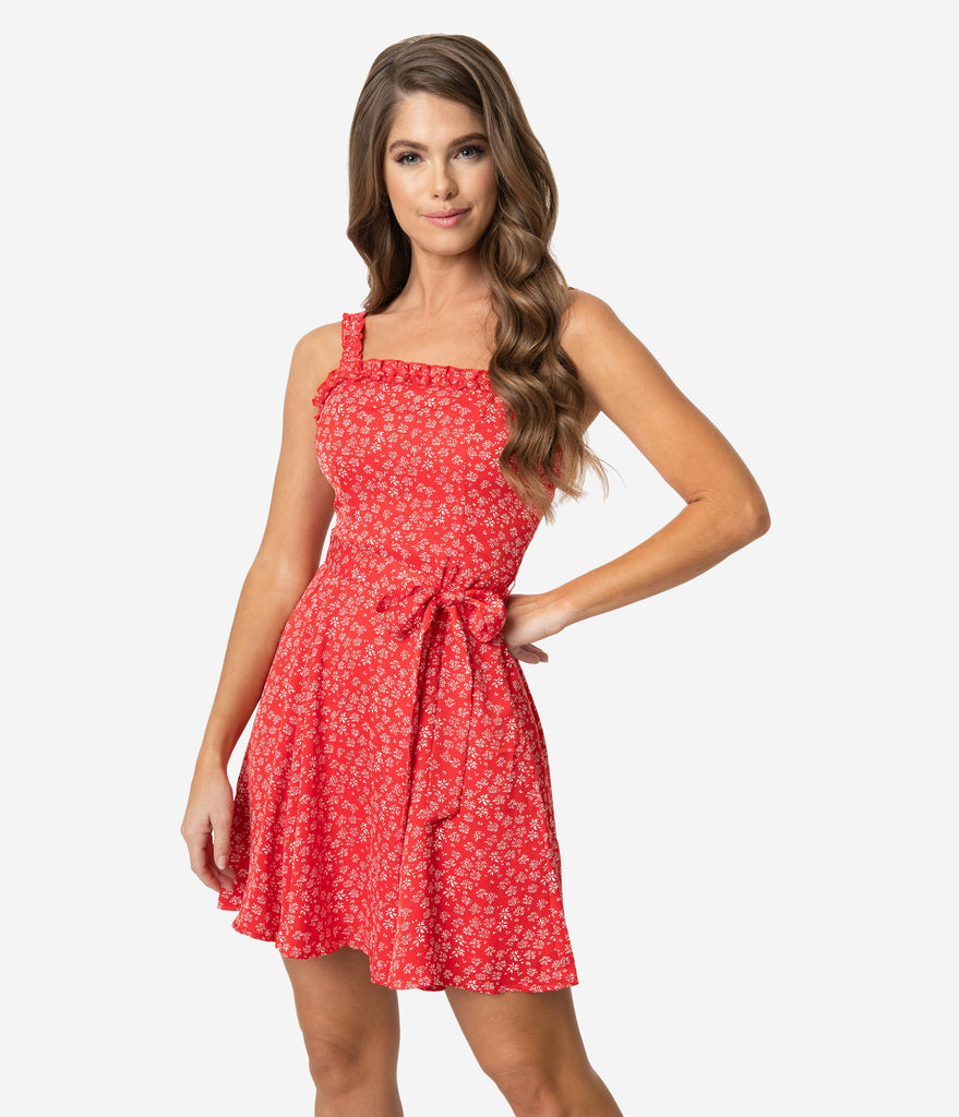 Red & White Floral Ruffle Sleeveless Mini Dress