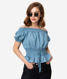 1970s Style Denim Blue Off The Shoulder Lace Up Waist Blouse