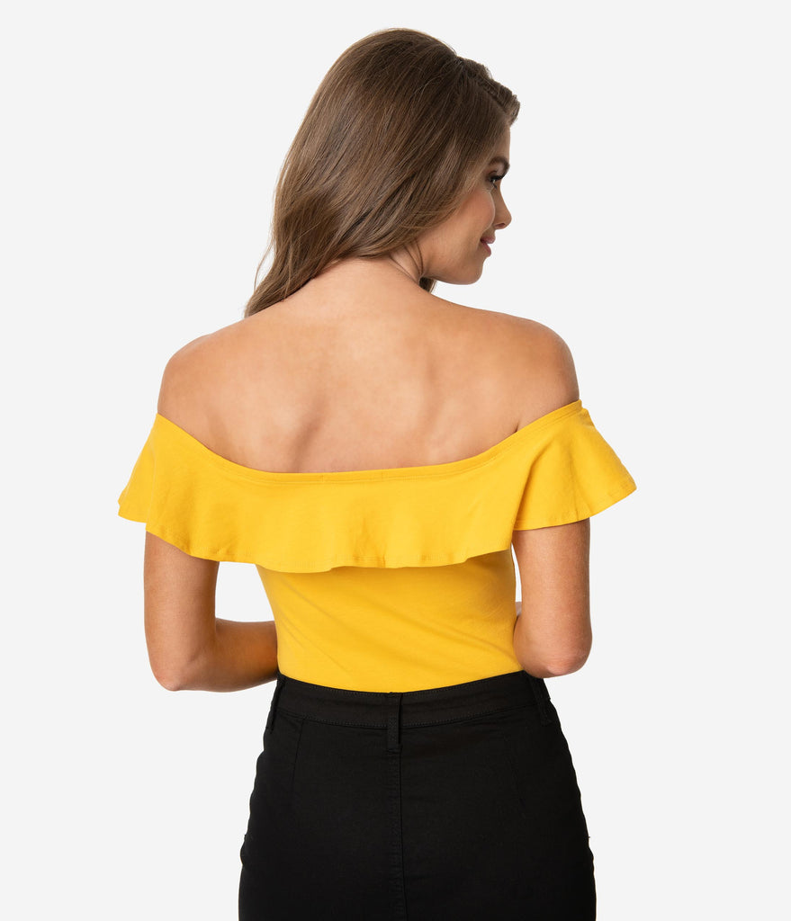 Mustard Yellow Off The Shoulder Ruffle Bodysuit