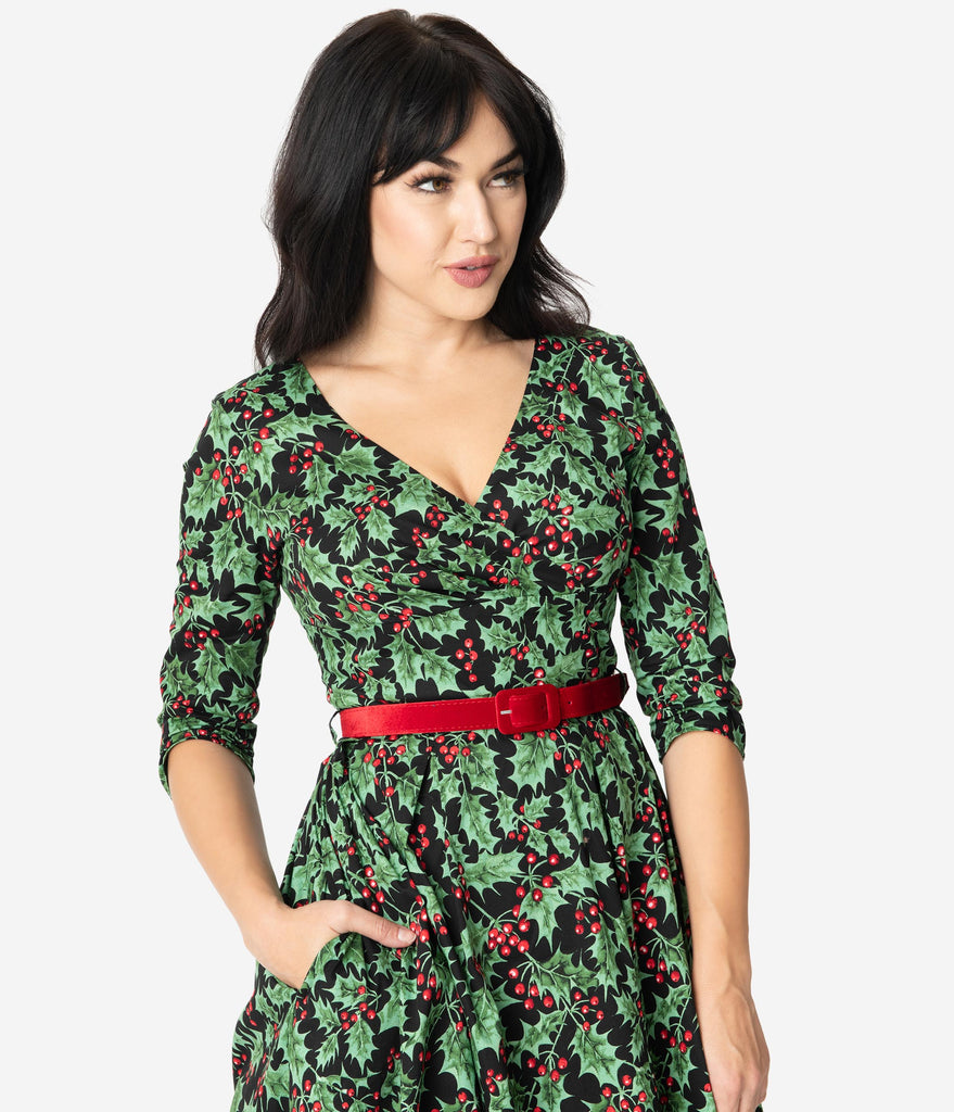 Hell Bunny 1950s Style Holly Berry Print Swing Dress