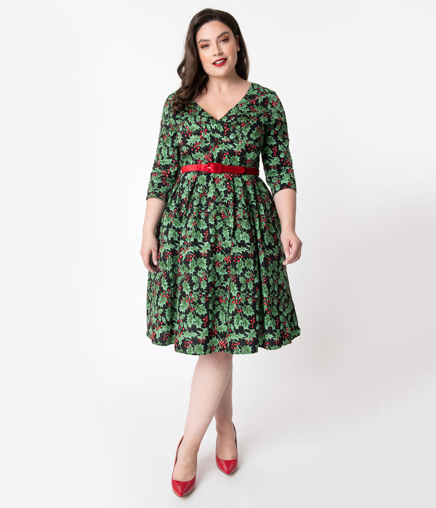 Hell Bunny Plus Size 1950s Style Holly Berry Print Swing Dress