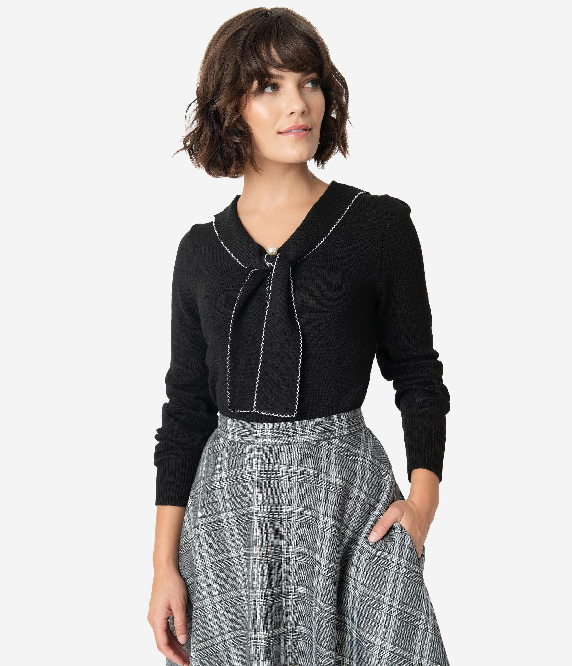 1920s Style Blouses, Shirts, Sweaters, Cardigans Hell Bunny Black Sailor Bow Connie Knit Sweater $62.00 AT vintagedancer.com