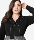 Hell Bunny Plus Size Black Sailor Bow Connie Knit Sweater