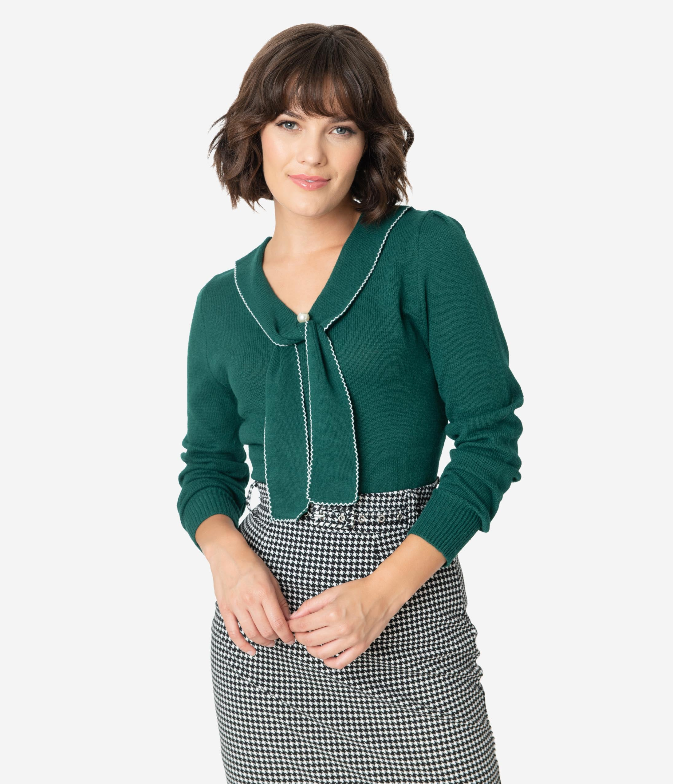 1930s Style Blouses, Shirts, Tops | Vintage Blouses Hell Bunny Emerald Green Sailor Bow Connie Knit Sweater $62.00 AT vintagedancer.com