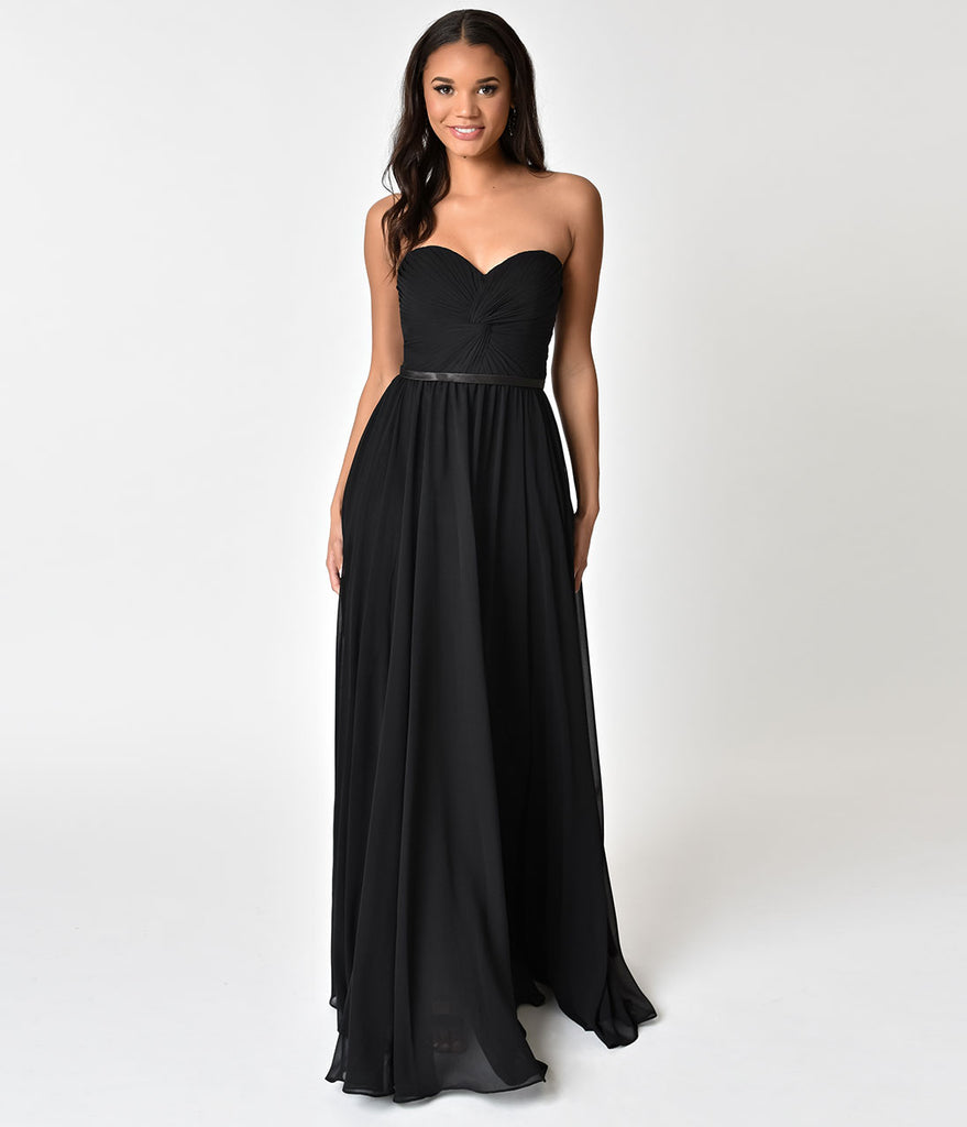 Unique vintage bridesmaid dresses black chiffon strapless sweetheart corset long gown ombrellifo Gallery
