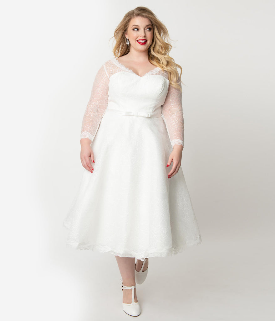 Unique Vintage Plus Size 1950s White Lace Long Sleeve Martinique Bridal  Dress