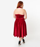 Unique Vintage Plus Size 1950s Style Red Velvet Rita Halter Flare Dress