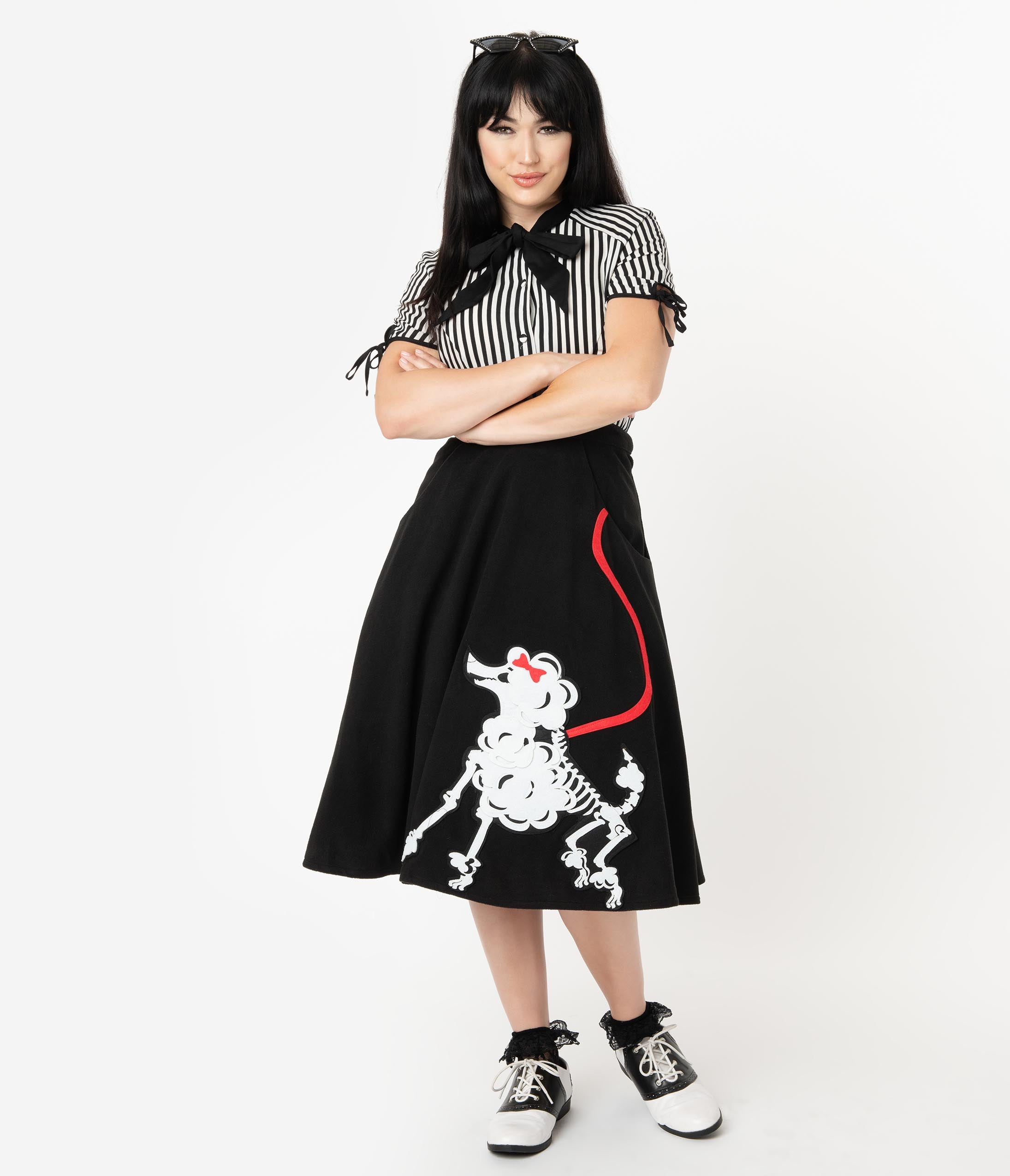 Vintage Retro Halloween Themed Clothing Unique Vintage 1950S Black Soda Shop Skeleton Poodle Swing Skirt $68.00 AT vintagedancer.com