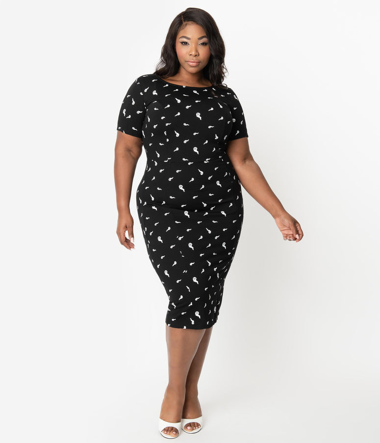 Unique Vintage Plus Size Black & White Ghosts Print Short Sleeve Mod Wiggle Dress