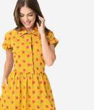 Unique Vintage Mustard & Red Apple Print Fit & Flare Dress