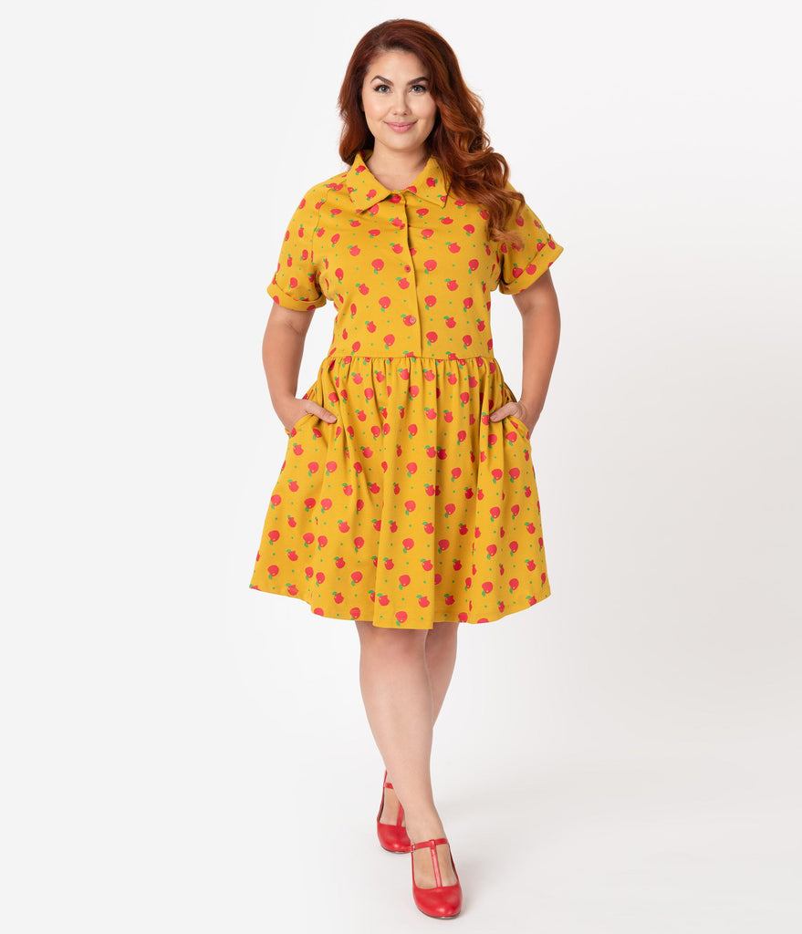 Unique Vintage Plus Size Mustard & Red Apple Print Fit & Flare Dress