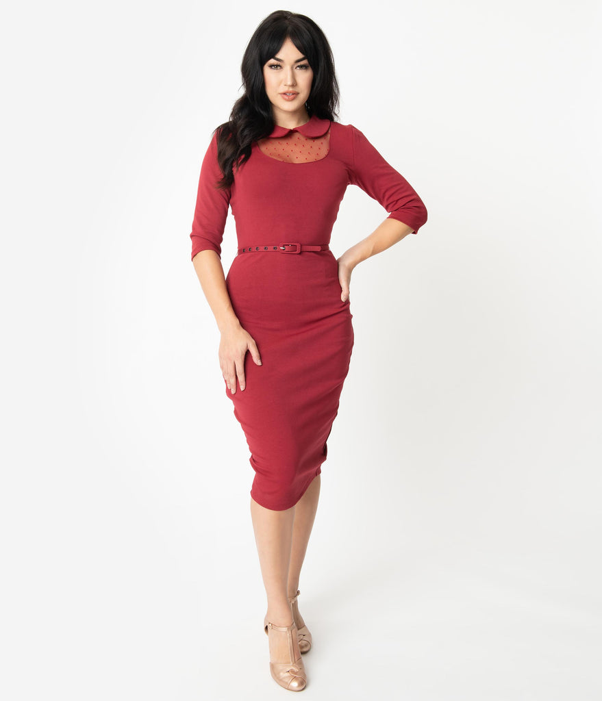 Unique Vintage 1960s Style Burgundy Mesh & Swiss Dot Cynthia Wiggle Dress