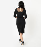 Unique Vintage 1960s Style Black Mesh & Swiss Dot Cynthia Wiggle Dress