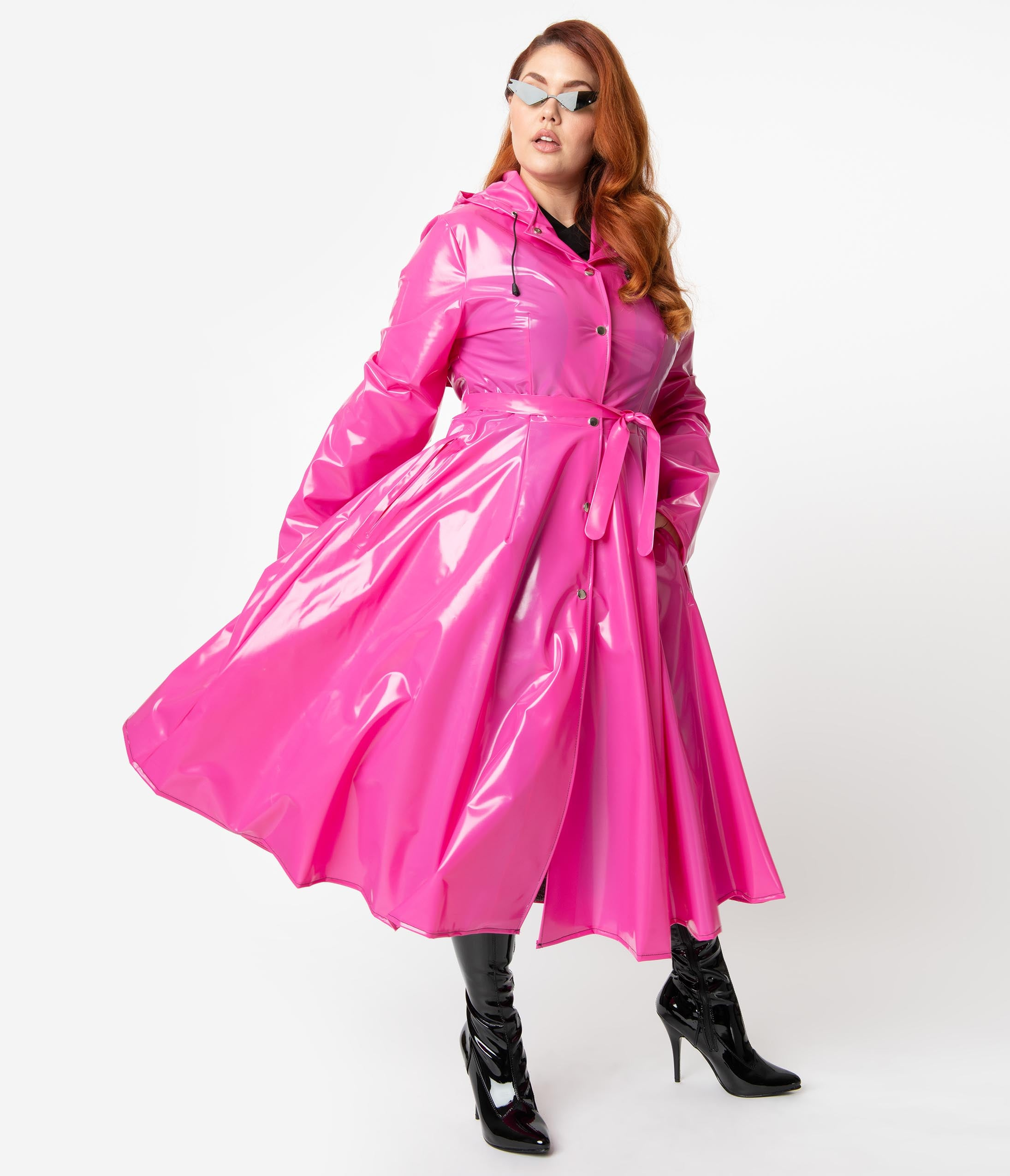 Vintage Coats & Jackets | Retro Coats and Jackets Plus Size Hot Pink Vinyl Long Sleeve Ruby Raincoat $98.00 AT vintagedancer.com