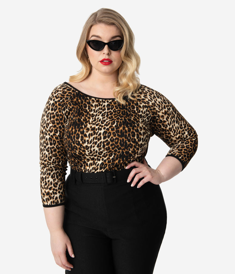 c3d01493200eaa Vixen By Micheline Pitt Plus Size Leopard Print Sleeved Wild Ways Top