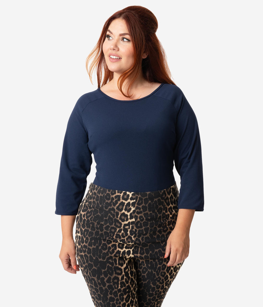 Vixen By Micheline Pitt Plus Size Navy Blue Sleeved Wild Ways Top