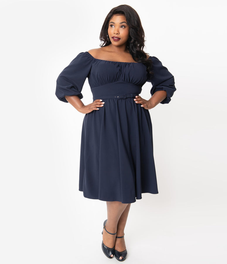 Vixen By Micheline Pitt Plus Size 1960s Navy Blue Vacation Swing Dress