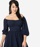 Vixen By Micheline Pitt 1960s Navy Blue Vacation Swing Dress
