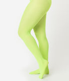 Neon Green Nylon Opaque Tights